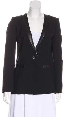 DKNY Leather-Trimmed Structured Blazer
