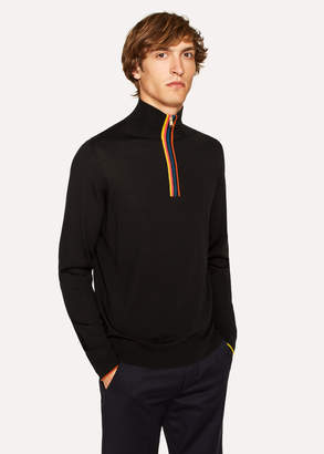 Paul Smith Men's Black 'Artist Stripe' Funnel Neck Wool Half-Zip Sweater