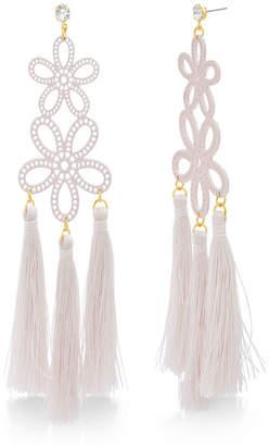 Catherine Malandrino Women Casted Pink Flower Design Yellow Gold-Tone Dangling Tassel Earrings