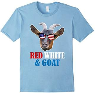 Red White & Goat 4th of July Shirt Funny Goat Sunglasses Tee