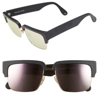 Women's Sunday Somewhere 'Little God' 55Mm Rectangular Sunglasses - Matte Black/ Rose Gold $290 thestylecure.com