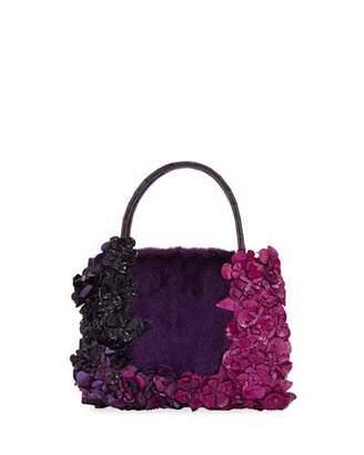 Nancy Gonzalez Wallis Flora Mini Fur & Croc Top-Handle Bag