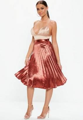 Missguided Rust Shiny Pleated Midi Skirt