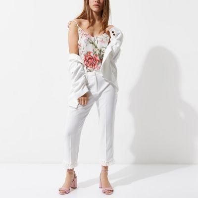 River IslandRiver Island Womens Petite white tassel hem cropped pants