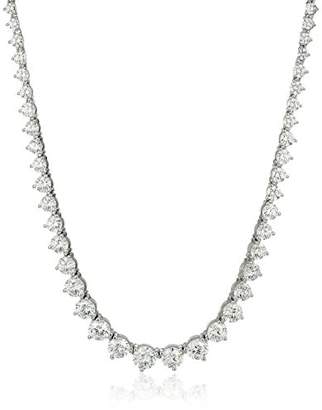Swarovski Myia Passiello Timeless Platinum-Plated Sterling Silver and Zirconia Graduated Riviera Necklace