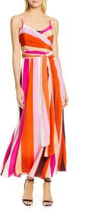Diane von Furstenberg Azalea Stripe Silk Wrap Maxi Dress