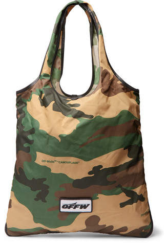 Off-White Leather-Trimmed Camouflage-Print Canvas Tote Bag
