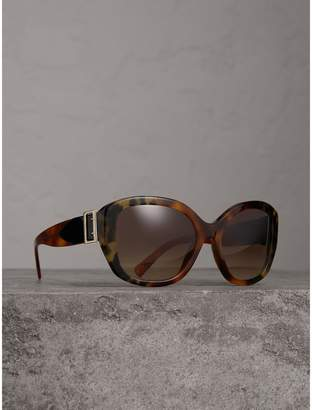 Burberry Buckle Detail Oversize Square Frame Sunglasses, Yellow