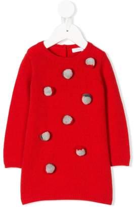 Il Gufo pompom embellished sweater dress