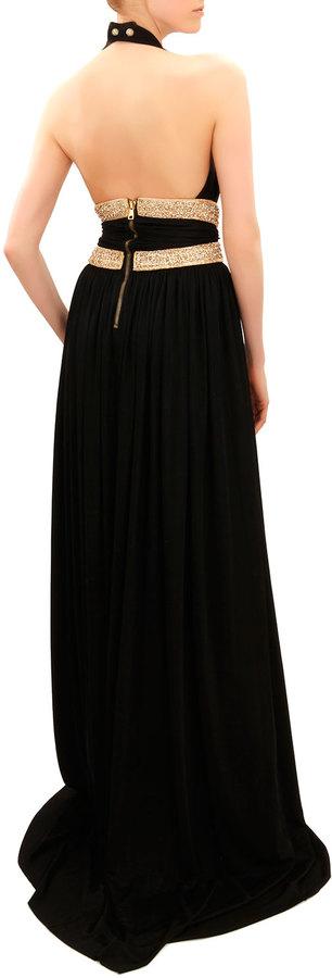 Balmain Beaded-Waist Sleeveless Jersey Gown