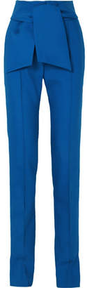 Valentino Bow-embellished Wool-blend Slim-leg Pants - Blue