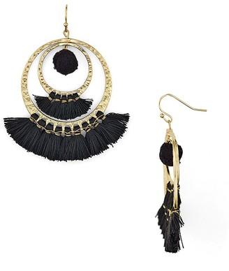 AQUA Lauren Pom-Pom and Tassel Drop Earrings - 100% Exclusive $24 thestylecure.com