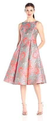 Adrianna Papell Women's Midi Sleeveless Jacquard Party Dress, Pink/Multi, 8