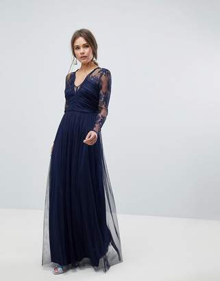 Asos Design Lace Maxi Dress with Long Sleeves