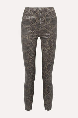J Brand Lillie Cropped Coated Snake-print Skinny Jeans - Brown