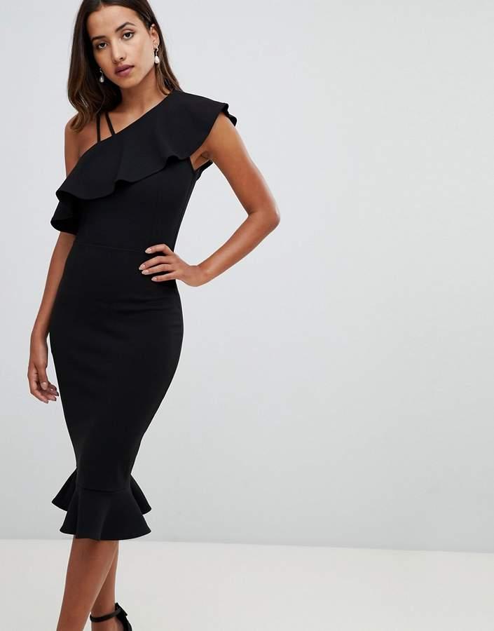 Girl In Mind one sholder frill midi dress