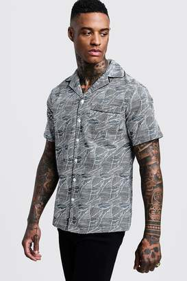 boohoo Leaf Print Short Sleeve Revere Shirt