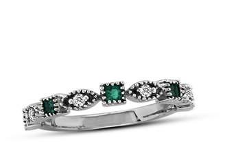 Zales Princess-Cut Emerald and Diamond Accent Art Deco Anniversary Band in 14K White Gold