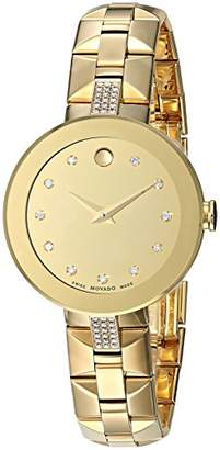 Movado Women's 'Sapphire' Swiss Quartz Tone and Gold Plated Casual Watch(Model: 0606913)