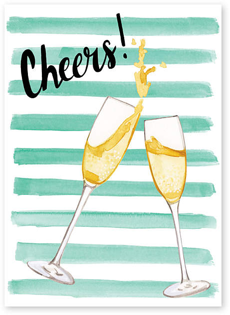 'Cheers' Congrats Greeting Card - Set of Six
