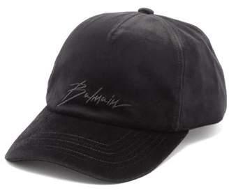 Balmain Logo Embroidered Velvet Baseball Cap - Mens - Black
