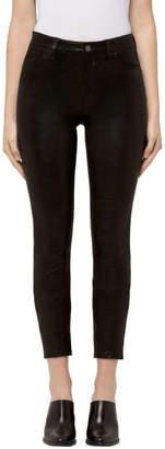 J Brand Alana High-Rise Cropped Super Skinny in Black Leather