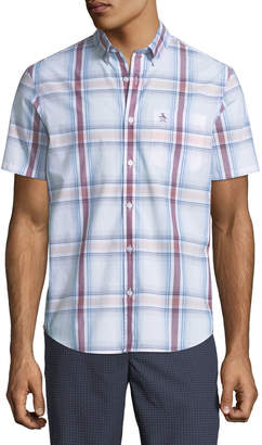 Original Penguin Men's Short-Sleeve Button-Front Plaid Cotton Shirt