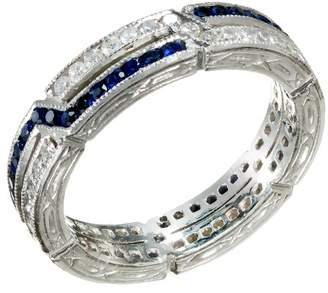 Art Deco Platinum with 0.60ct Sapphire and 0.50ct Diamond Criss Cross Eternity Band Ring Size 5.5