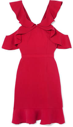 Rachel Zoe Delia Cold-shoulder Ruffled Crepe Mini Dress - Red
