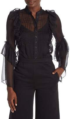 Madisonne Front Button Ruffle Sheer Blouse
