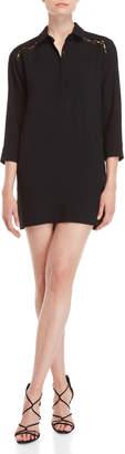 IRO Black Lace Trim Shirtdress