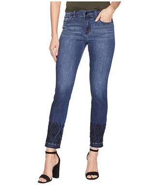 Liverpool Abby Ankle Embroidered in Super Comfort Stretch Denim Jeans in Montauk Mid Blue