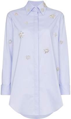 Area embellished detail shirt dress