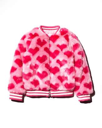 Design History Girls' Faux-Fur Heart-Print Bomber Jacket - Little Kid