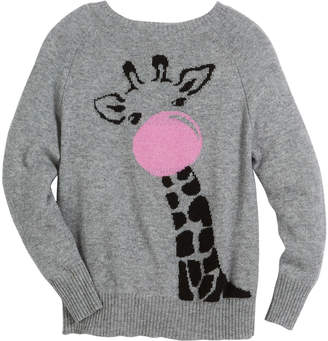 Autumn Cashmere Bubble Gum Giraffe Raglan Sweater, Size 6-14