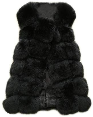 MIOIM Womens Luxury Winter Warm Outwear Faux Fox Fur Waistcoat Vest Sleeveless Jacket