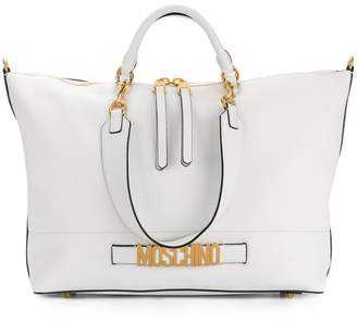 Moschino logo plaque tote bag