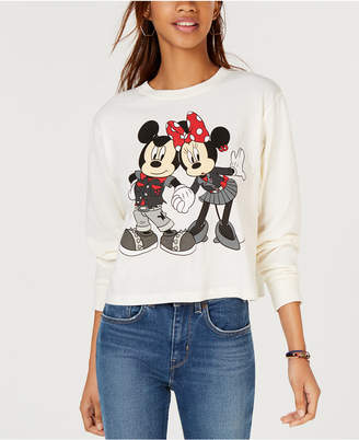 Mighty Fine Juniors' Mickey & Minnie Graphic-Print T-Shirt