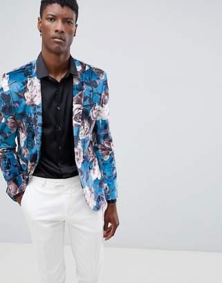 Asos Design Super Skinny Blazer In Blue Velvet Floral Print