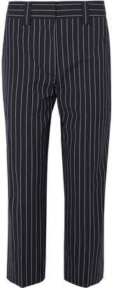 Acne Studios Cropped Pinstriped Wool And Cotton-blend Straight-leg Pants - Navy