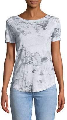 Generation Love Graham Crewneck Abstract-Print Lace-Up Top
