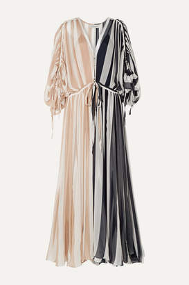 Oasis Lee Mathews Oversized Striped Silk-crepon Maxi Dress - Neutral