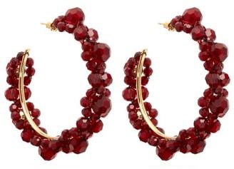 Simone Rocha Large Crystal Daisy Hoop Earrings - Womens - Burgundy