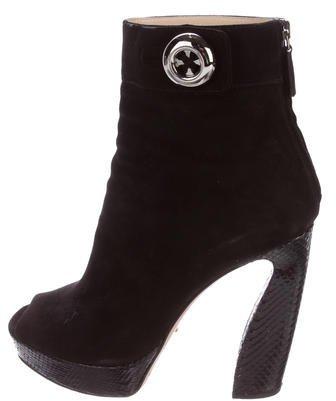 pradaPrada Peep-Toe Platform Ankle Boots