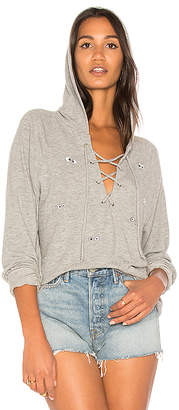Lauren Moshi Cali Emoji Eyes Lace Up Hoodie in Gray $169 thestylecure.com