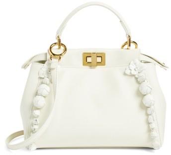 FendiFendi Mini Peekaboo Floral Leather Satchel - White