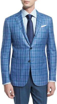 Ermenegildo Zegna Plaid Two-Button Jacket, Light Blue/Green $2,495 thestylecure.com