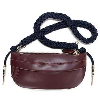 Braided Knot Chest Bag for Women Leather Waist Pack Multifunctional Shoulder Bag