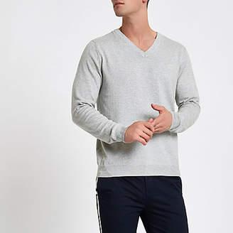 River Island Grey marl slim fit V neck sweater