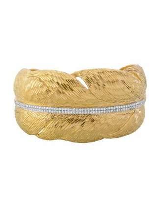 Michael Aram Diamond Feather Cuff Bracelet in 18K Gold